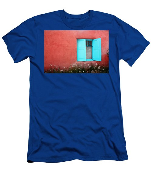 Men's T-Shirt (Slim Fit) featuring the photograph Taos Window Iv by Lanita Williams