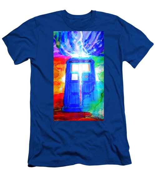 Men's T-Shirt (Slim Fit) featuring the drawing Tardis by Justin Moore