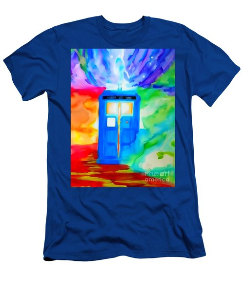 Men's T-Shirt (Slim Fit) featuring the drawing Tardis Watercolor Edition by Justin Moore
