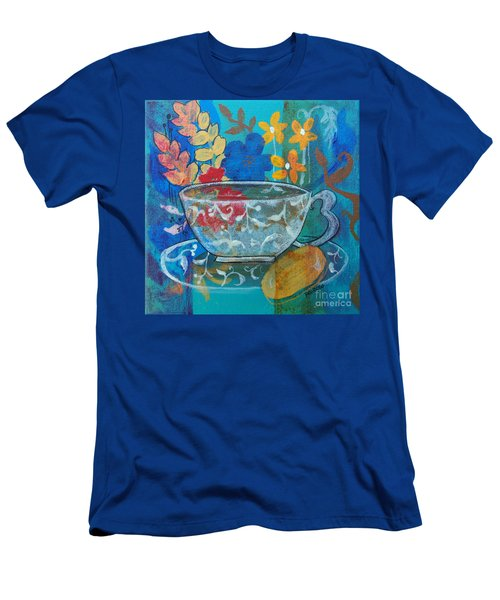 Men's T-Shirt (Slim Fit) featuring the painting Tea With Biscuit by Robin Maria Pedrero