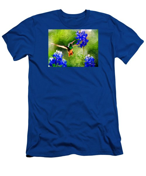 Da161 Texas Bluebonnet Hummingbird By Daniel Adams Men's T-Shirt (Athletic Fit)