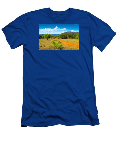 Men's T-Shirt (Slim Fit) featuring the photograph Texas Hill Country Red Dirt Road by Darryl Dalton