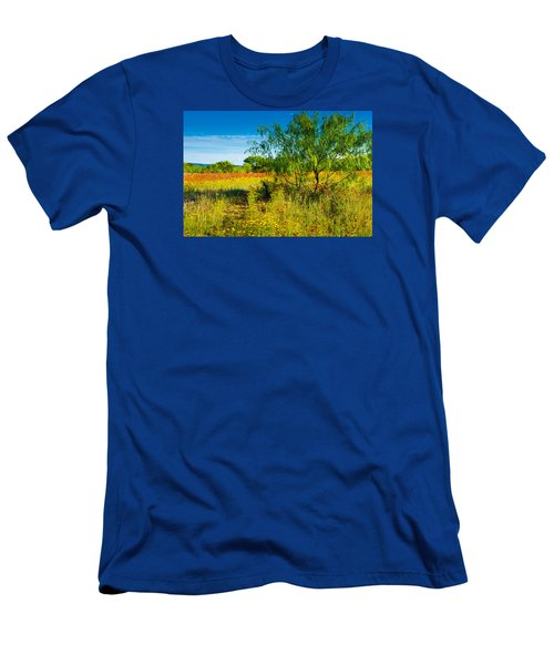 Men's T-Shirt (Slim Fit) featuring the photograph Texas Hill Country Wildflowers by Darryl Dalton