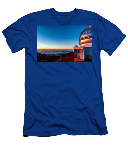 Men's T-Shirt (Slim Fit) featuring the photograph The Glow Of The Warm Sunset Reflecting Off Of The Gemini 8.1m Op by Jim Thompson