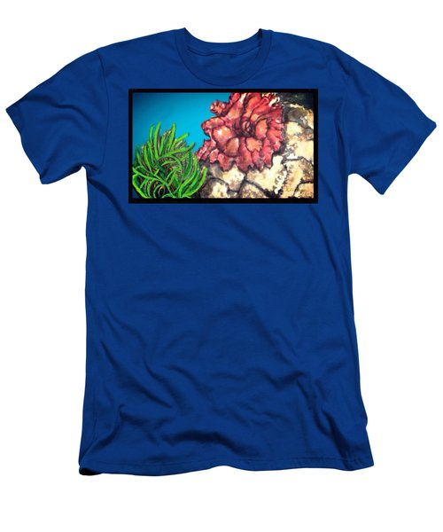 Men's T-Shirt (Slim Fit) featuring the painting The Odd Couple Two Very Different Sea Anemones Cohabitat by Kimberlee Baxter
