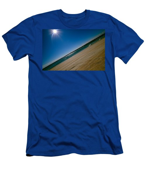 Men's T-Shirt (Slim Fit) featuring the photograph Treads In The Sand by DigiArt Diaries by Vicky B Fuller