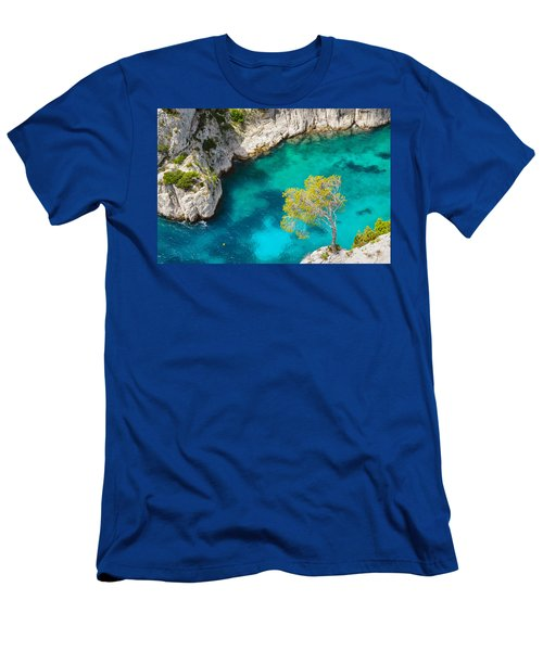 Tree On Turquoise Waters Men's T-Shirt (Athletic Fit)
