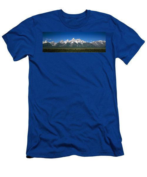 Trees In A Forest With Mountains Men's T-Shirt (Athletic Fit)