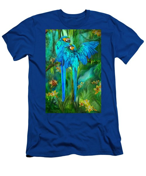 Men's T-Shirt (Athletic Fit) featuring the mixed media Tropic Spirits - Gold And Blue Macaws by Carol Cavalaris