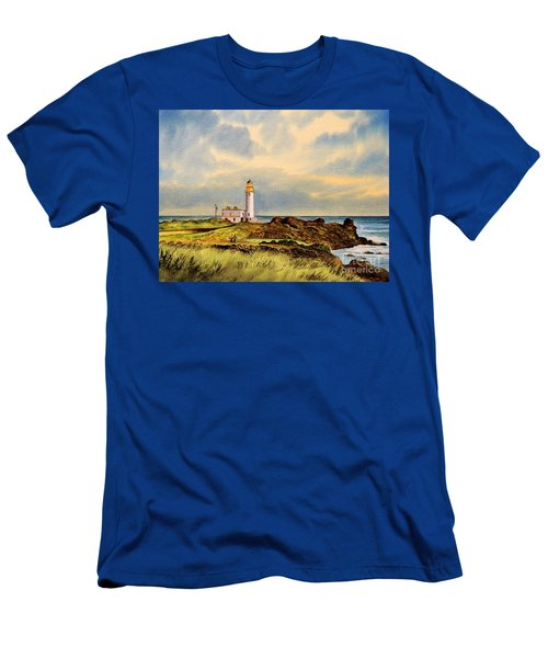 Turnberry Golf Course 9th Tee Men's T-Shirt (Slim Fit) by Bill Holkham