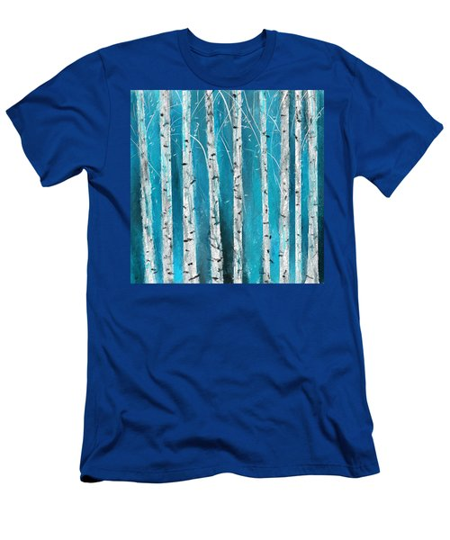 Turquoise Birch Trees II- Turquoise Art Men's T-Shirt (Athletic Fit)