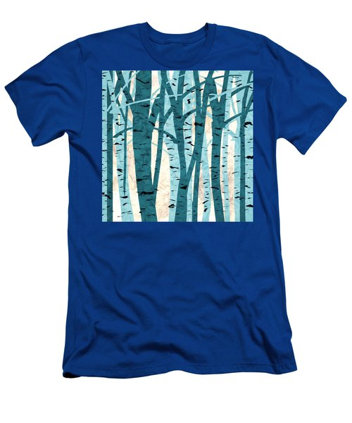 Turquoise Birch Trees Men's T-Shirt (Athletic Fit)