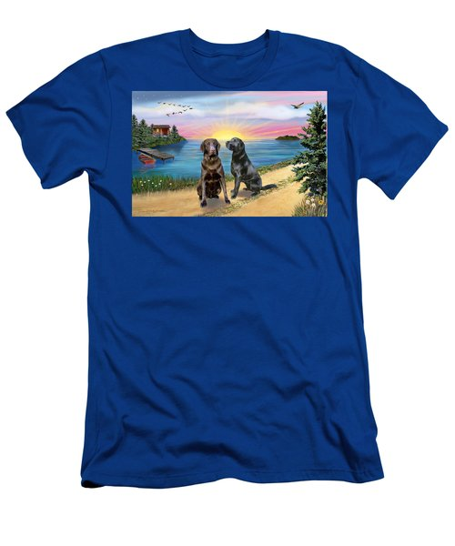 Two Labs At The Lake Men's T-Shirt (Athletic Fit)