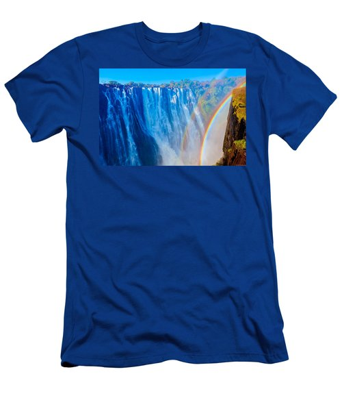 Victoria Falls Double Rainbow Men's T-Shirt (Slim Fit) by Jeff at JSJ Photography