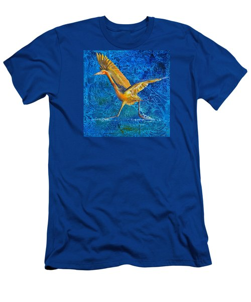 Men's T-Shirt (Slim Fit) featuring the painting Water Run by AnnaJo Vahle