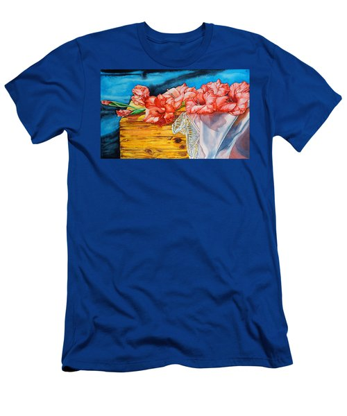 Watercolor Exercise Gladiolas Men's T-Shirt (Athletic Fit)