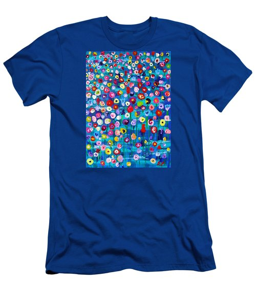 Men's T-Shirt (Slim Fit) featuring the painting Wildflower Fiesta by Brenda Pressnall