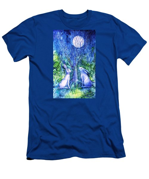 Winter Descends As Two Hares Contemplate An Owl By Moonlight Men's T-Shirt (Slim Fit) by Trudi Doyle