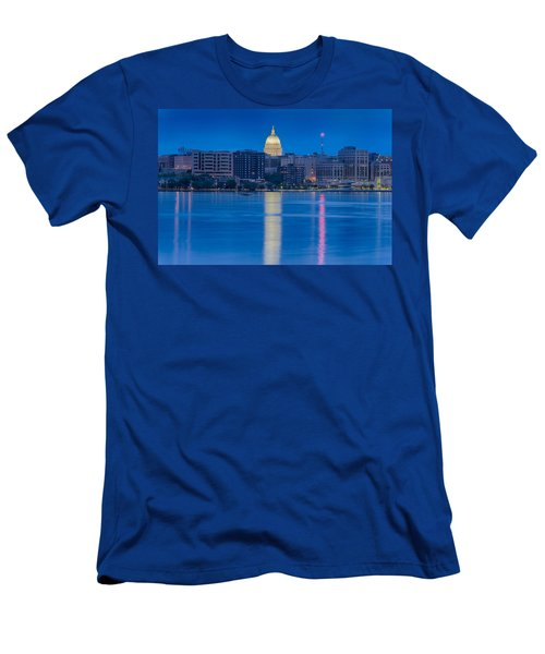Men's T-Shirt (Slim Fit) featuring the photograph Wisconsin Capitol Reflection by Sebastian Musial