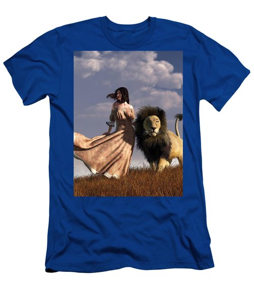 Woman With African Lion Men's T-Shirt (Athletic Fit)