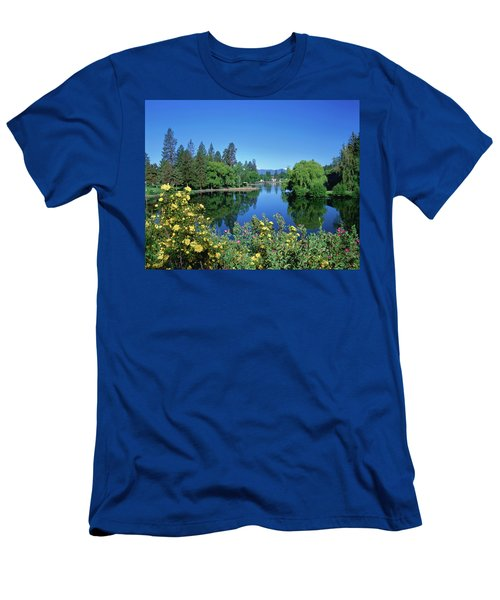 Yellow Roses By Mirror Pond Men's T-Shirt (Athletic Fit)
