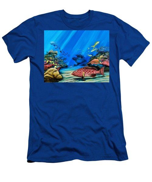 Yellowfin Grouper Wreck Men's T-Shirt (Slim Fit) by Steve Ozment
