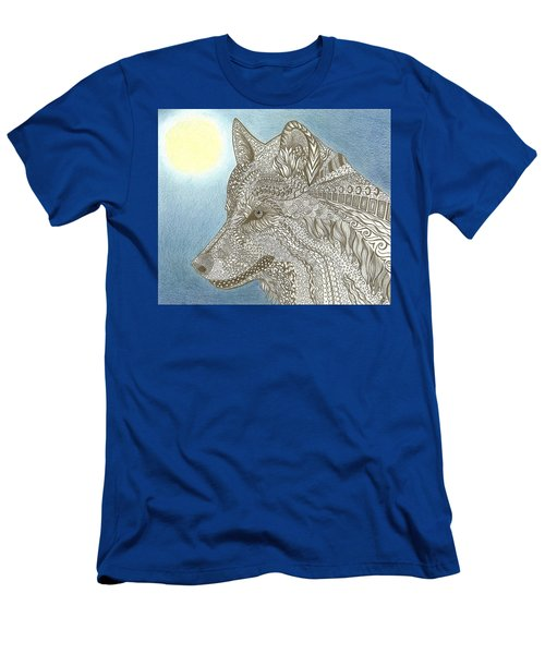 Zen Wolf Moon Men's T-Shirt (Athletic Fit)