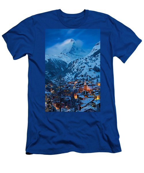 Men's T-Shirt (Athletic Fit) featuring the photograph Zermatt - Winter's Night by Brian Jannsen