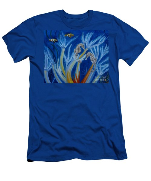Men's T-Shirt (Slim Fit) featuring the painting Date Night On The Reef by Julie Brugh Riffey