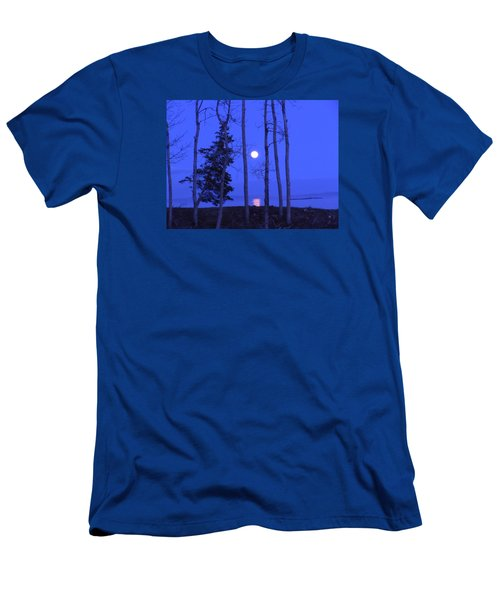May Moon Through Birches Men's T-Shirt (Slim Fit) by Francine Frank