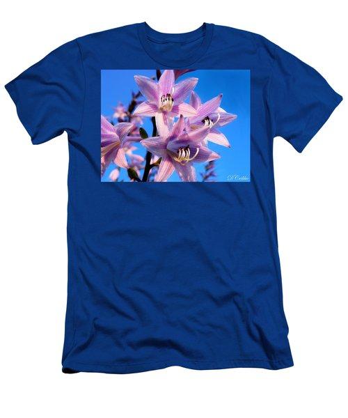 Men's T-Shirt (Slim Fit) featuring the photograph Purple Hosta Blooms by Davandra Cribbie