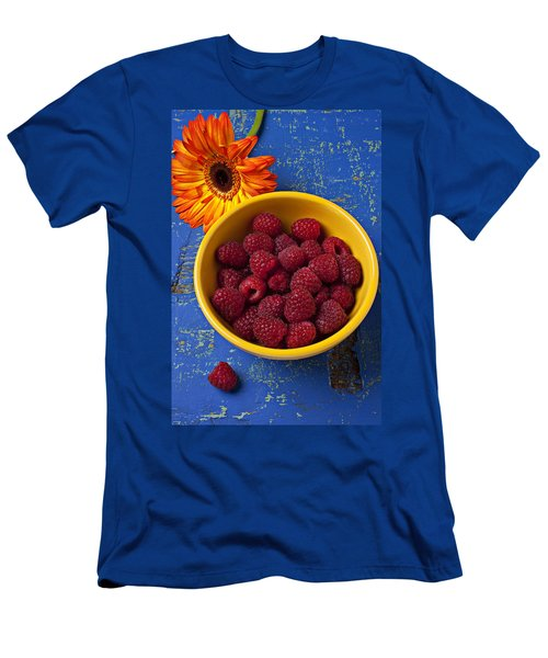 Raspberries In Yellow Bowl Men's T-Shirt (Athletic Fit)