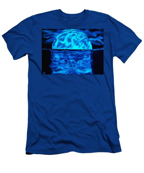 Men's T-Shirt (Slim Fit) featuring the painting Sea Of Troubles Black Light by Lisa Brandel