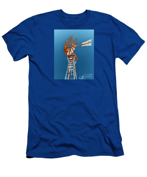 Windmill Rust Orange With Blue Sky Men's T-Shirt (Slim Fit) by Rebecca Margraf