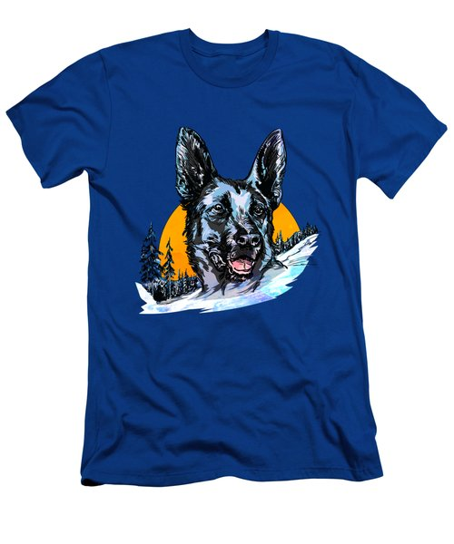 Men's T-Shirt (Slim Fit) featuring the drawing  Alsatian by Andrzej Szczerski
