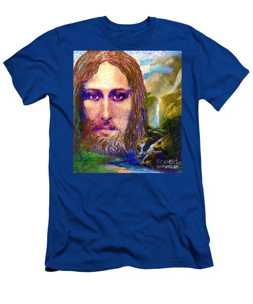 Men's T-Shirt (Slim Fit) featuring the painting  Contemporary Jesus Painting, Chalice Of Life by Jane Small