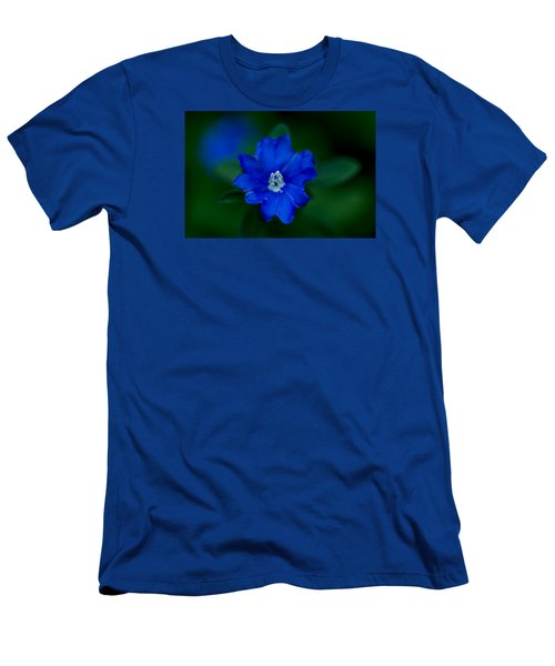 Men's T-Shirt (Slim Fit) featuring the photograph  Evolvulus Glomeratus Hawaiian Blue Eyes by Keith Hawley