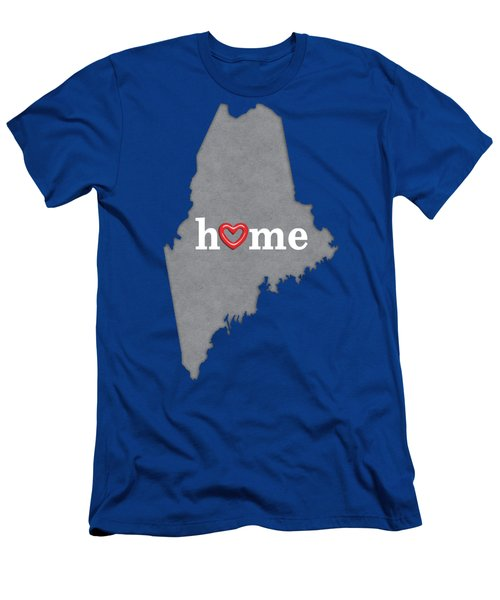 State Map Outline Maine With Heart In Home Men's T-Shirt (Athletic Fit)