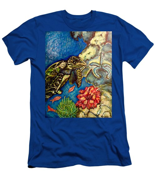 Men's T-Shirt (Slim Fit) featuring the painting  Sweet Mystery Of The Sea A Hawksbill Sea Turtle Coasting In The Coral Reefs Original by Kimberlee Baxter