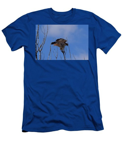 Men's T-Shirt (Athletic Fit) featuring the photograph Red Tail Hawk Female Tower Rd Denver by Margarethe Binkley