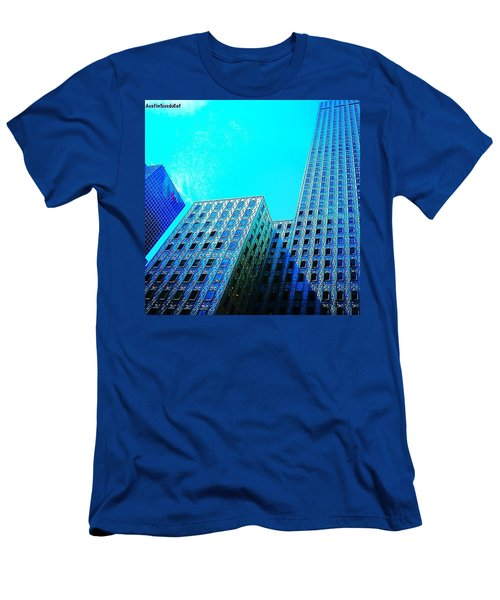 #blue #buildings And #bluesky On A Men's T-Shirt (Athletic Fit)