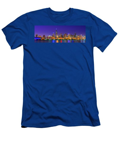 Chicago Skyline With Cubs World Series Lights Night, Lake Michigan, Chicago, Cook County, Illinois Men's T-Shirt (Athletic Fit)
