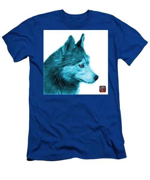 Cyan Siberian Husky Art - 6048 - Wb Men's T-Shirt (Athletic Fit)