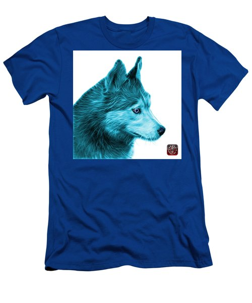 Cyan Siberian Husky Art - 6048 - Wb Men's T-Shirt (Athletic Fit)