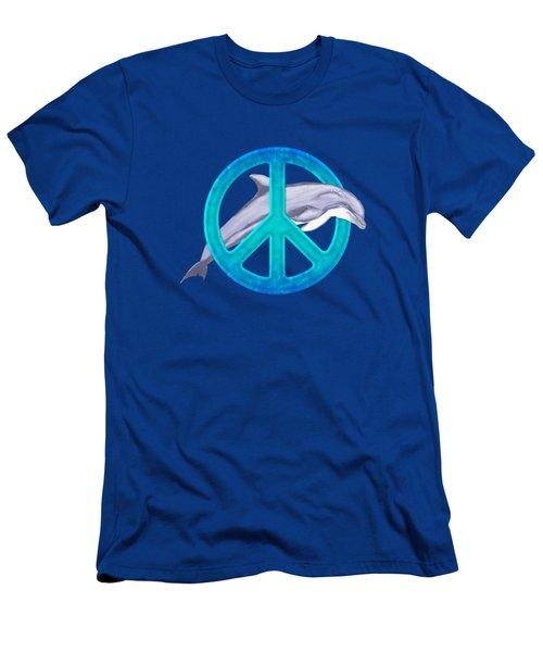 Dolphin Peace Men's T-Shirt (Slim Fit) by Chris MacDonald