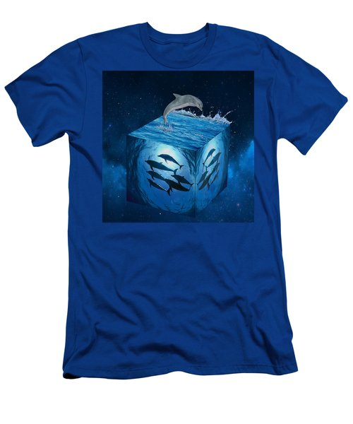 Men's T-Shirt (Athletic Fit) featuring the mixed media Dolphins by Marvin Blaine