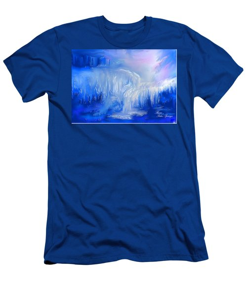 Men's T-Shirt (Slim Fit) featuring the painting Ice Falls by Sherri  Of Palm Springs