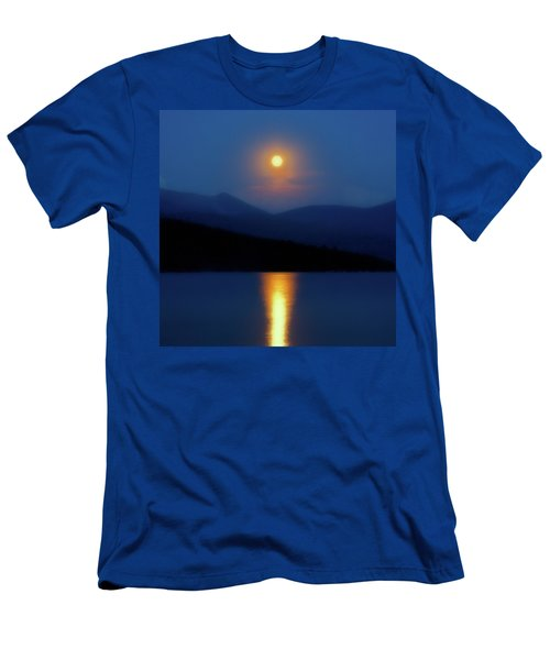 Men's T-Shirt (Athletic Fit) featuring the photograph Moon Over Priest Lake by David Patterson
