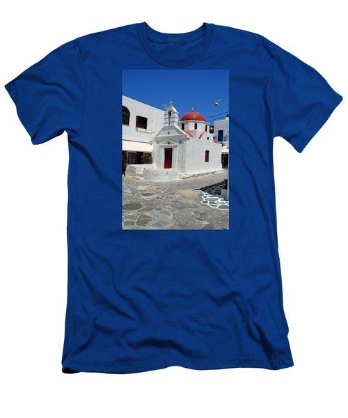 Mykonos Red Chapel Men's T-Shirt (Slim Fit) by Robert Moss