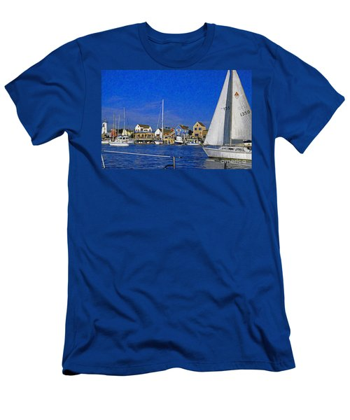 Men's T-Shirt (Slim Fit) featuring the photograph Sailing Marina Del Rey Fisherman's Village by David Zanzinger